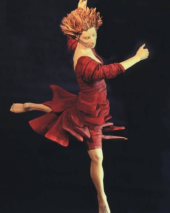 Ballerina Poster featuring the sculpture Red Dancer Front View by Gordon Becker