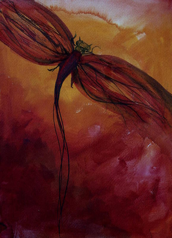 Paint Poster featuring the painting Red Dragonfly by Julie Lueders