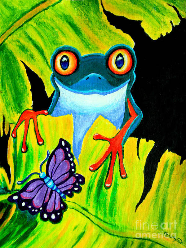Red Eyed Tree Frog Poster featuring the painting Red Eyed Tree Frog And Purple Butterfly by Nick Gustafson