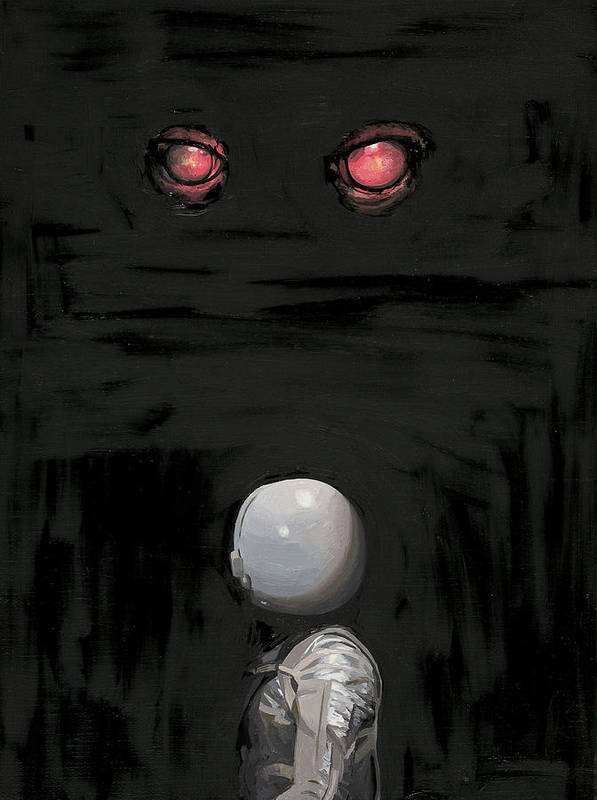 Astronaut Poster featuring the painting Red Eyes by Scott Listfield