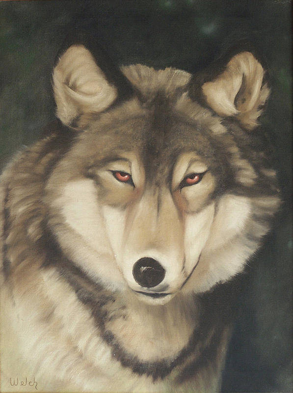 Wolf Poster featuring the painting Red Eyes by Steven Welch