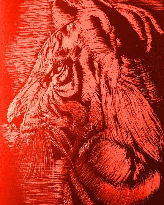 Tiger Poster featuring the mixed media Red Head Tiger by Yelena Wilson