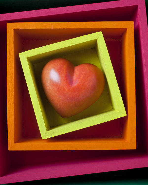 Red Poster featuring the photograph Red Heart In Box by Garry Gay