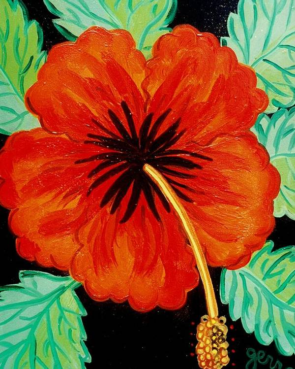 Hibiscus Artwork Poster featuring the painting Red Hibiscus by Helen Gerro