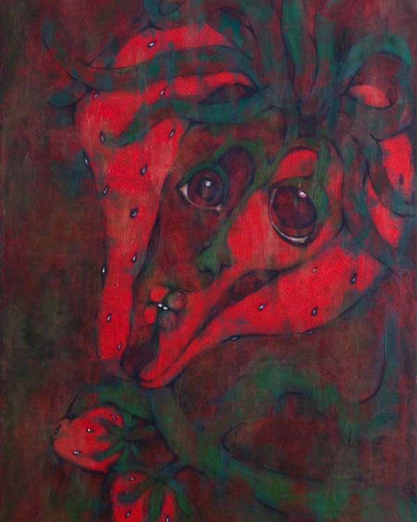 Red Poster featuring the painting Red Kiss by Claudia Padilla
