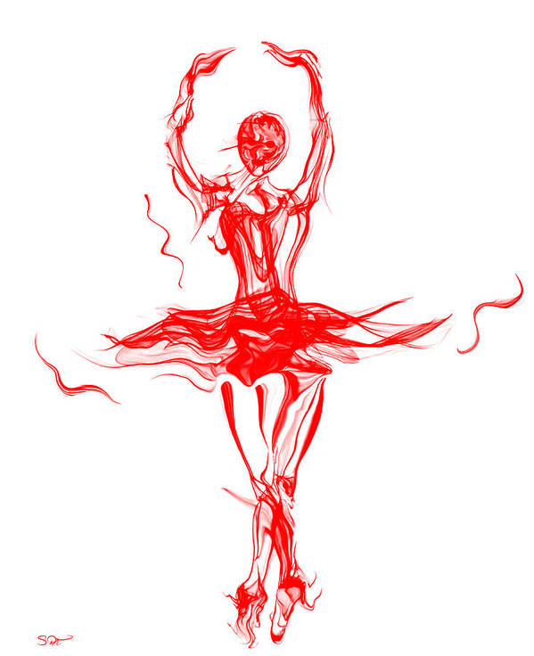 Red Lipstick Ballerina Twirling Poster