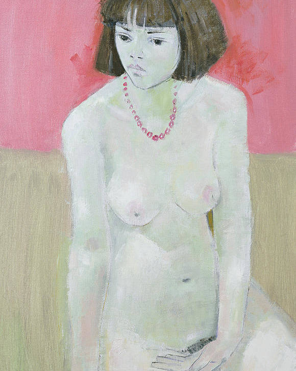 Nude Poster featuring the painting Red Necklace by Endre Roder