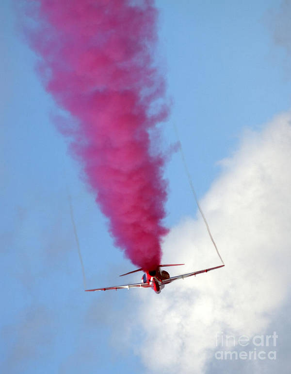Red Arrows Poster featuring the photograph Red One Down by Angel Ciesniarska