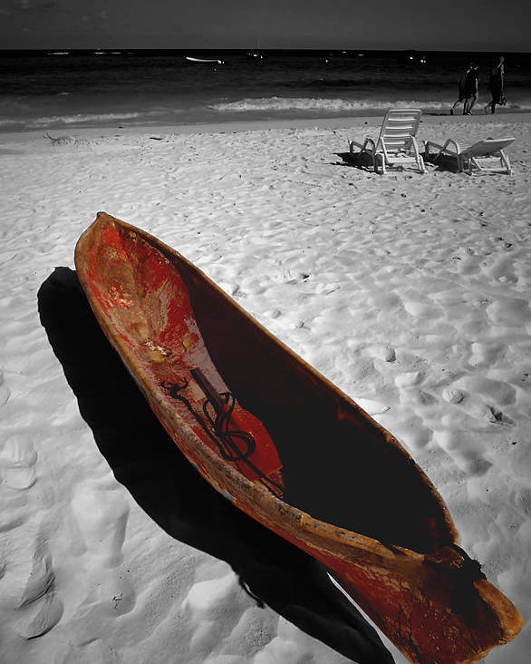 Photography Poster featuring the photograph Red Paddle Boat Playa Del Carmen by Tom Fant
