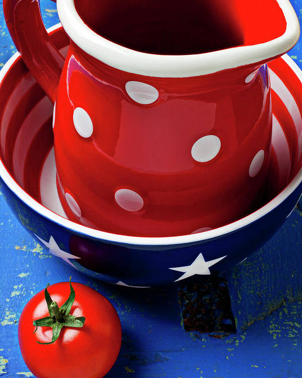 Pitcher Bowl Poster featuring the photograph Red Pitcher And Tomato by Garry Gay