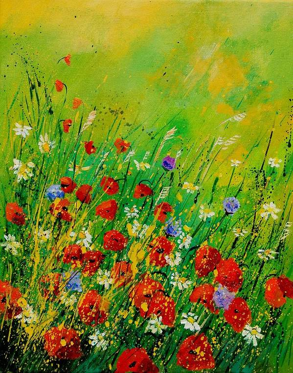 Flowers Poster featuring the painting Red Poppies 450708 by Pol Ledent
