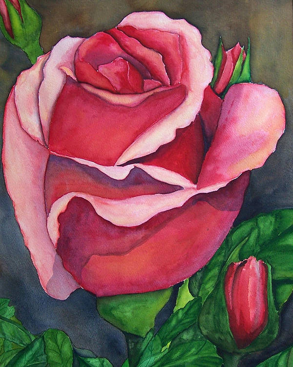 Red Rose Painting Poster featuring the painting Red Red Rose by Robert Thomaston
