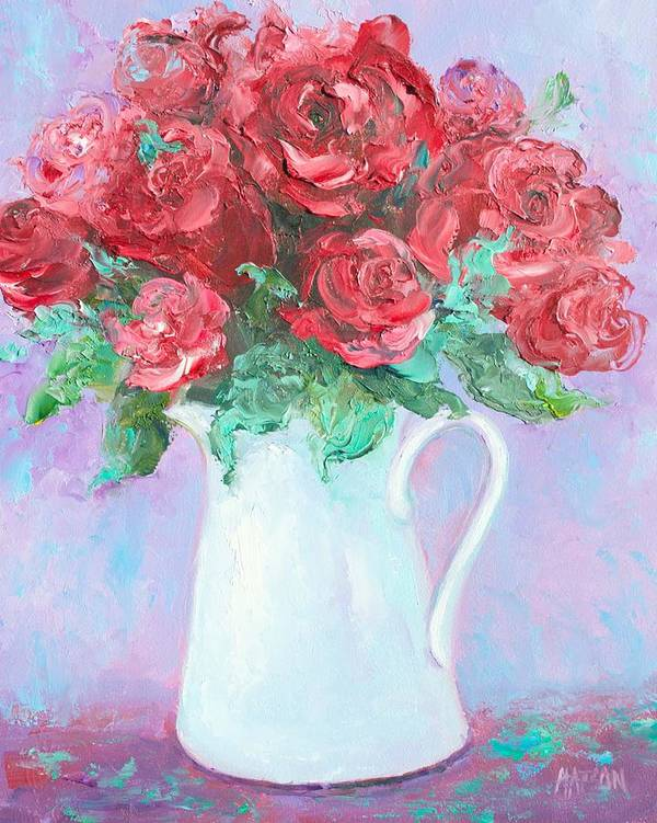 Red Roses Poster featuring the painting Red Roses In White Jug by Jan Matson