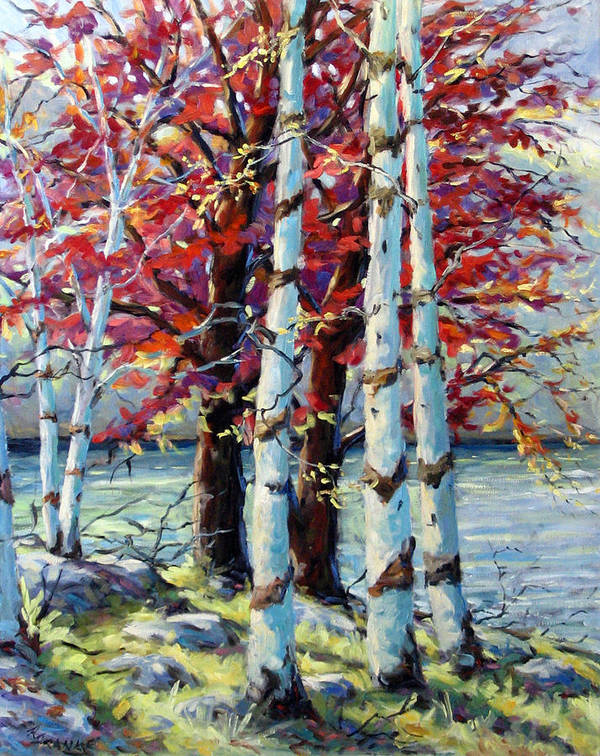 Birches Poster featuring the painting Red Splash by Richard T Pranke
