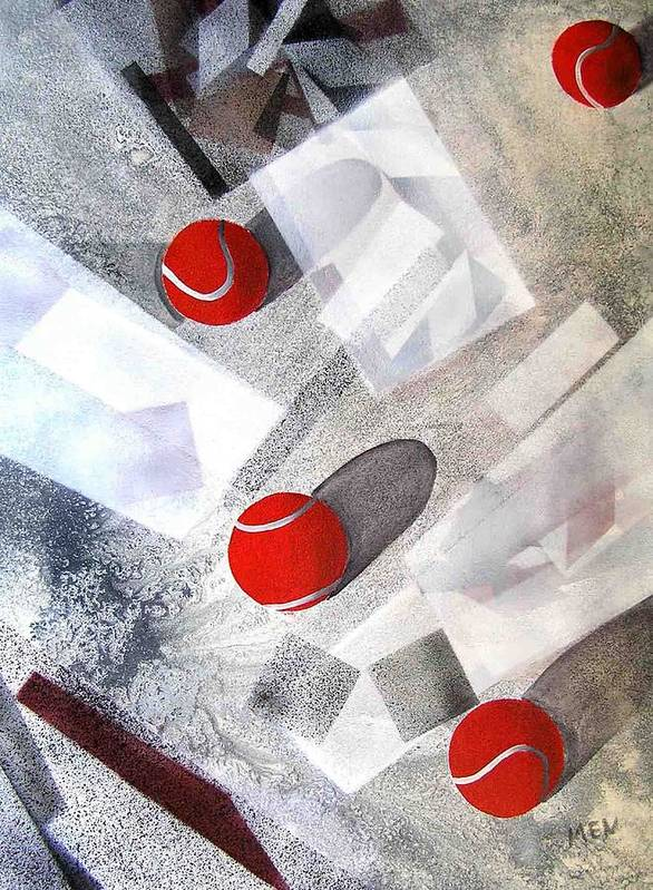 Tennis Balls Poster featuring the painting Red Tennis Balls On White Sand by Evguenia Men