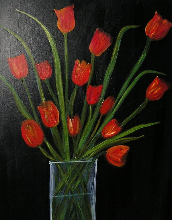 Still Life Red Poppies Glass Jar Vase Black Background Gorgeous Poster featuring the painting Red Tulips by Sher Green