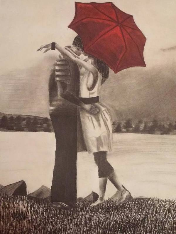 Red Umbrella Black And White Poster featuring the drawing Red Umbrella by Alexius Brown
