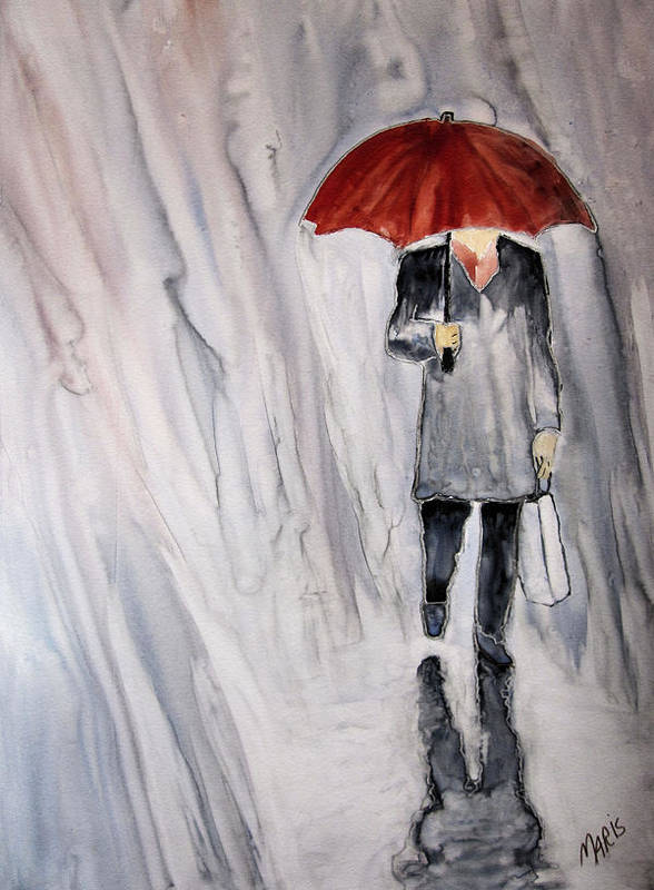 Rain Poster featuring the painting Red Umbrella by Maris Sherwood
