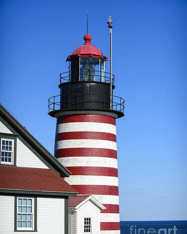 Downeast Poster featuring the photograph Red White Striped Lighthouse by Alana Ranney