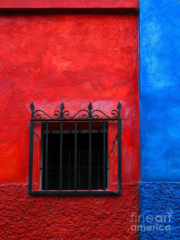 Darian Day Poster featuring the photograph Red Window With Blue By Darian Day by Mexicolors Art Photography