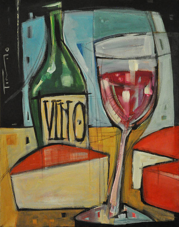 Wine Poster featuring the painting Red Wine And Cheese by Tim Nyberg