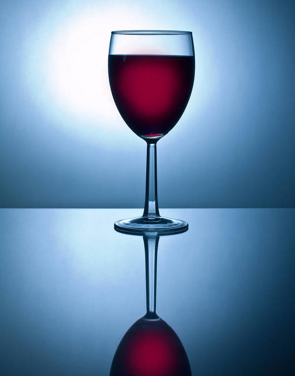 Wine Poster featuring the photograph Red Wine With Reflection by David Thompson