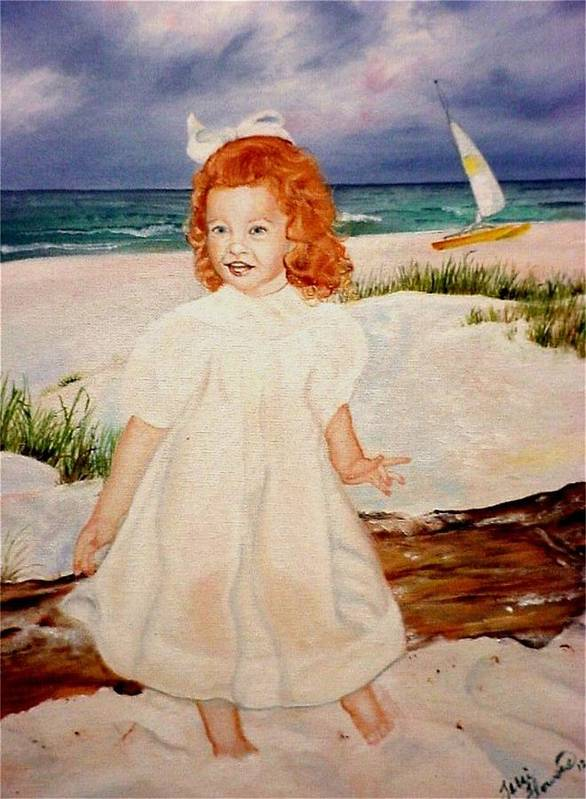 Beach Poster featuring the painting Redhead On Beach by Terri Kilpatrick