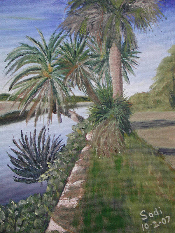 Palm Tree Poster featuring the painting Reflected Palms by Sodi Griffin