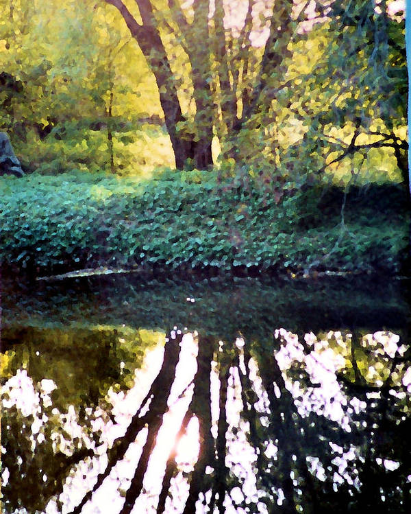Landscape Poster featuring the photograph Reflections At Wyeth by Ellen Lerner ODonnell