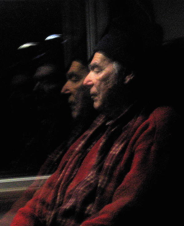 Old Man Poster featuring the photograph Reflections On A Train by David Ritsema
