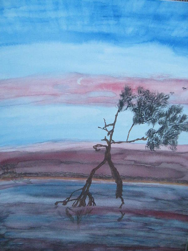 Landscape Acrylic Water Tree Poster featuring the painting Reflections by Warren Thompson