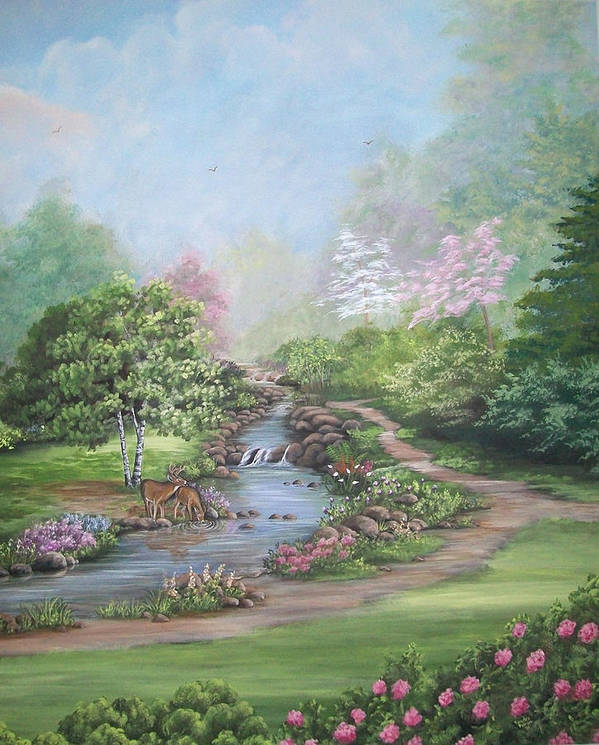 Deer Poster featuring the painting Refreshing Stream by Sandra Poirier