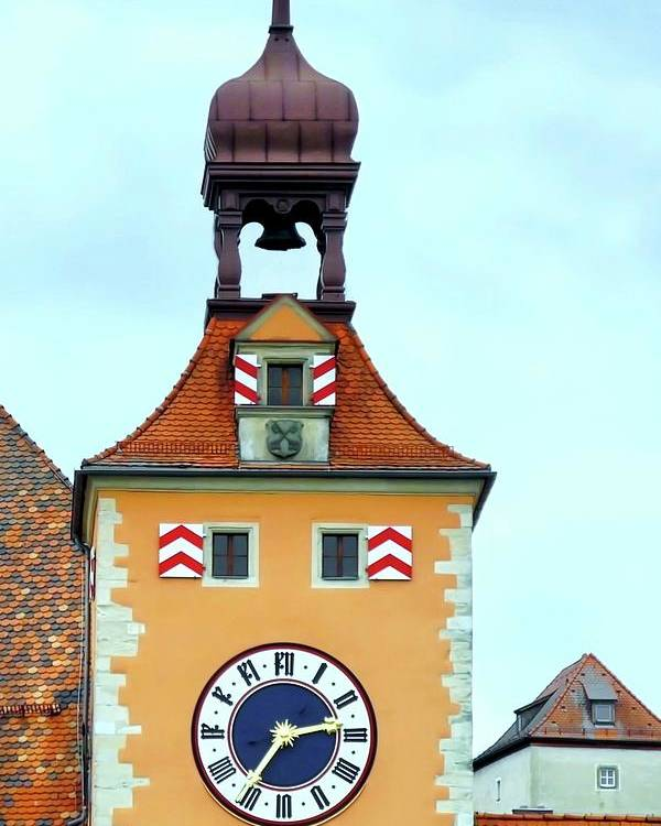 Clock Tower Poster featuring the photograph Regensburg Clock Tower by Kirsten Giving