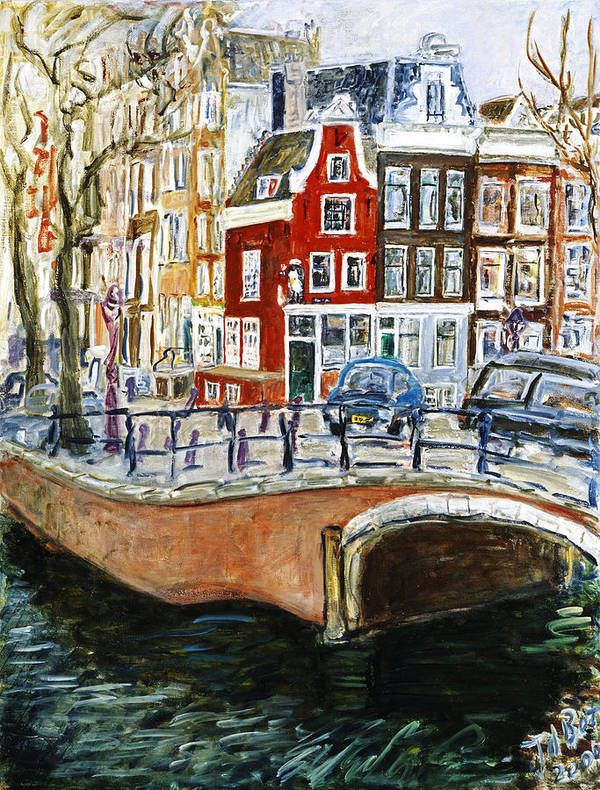 Amsterdam Cityscape Canal Water House Bridge Poster featuring the painting Reguliersgracht by Joan De Bot