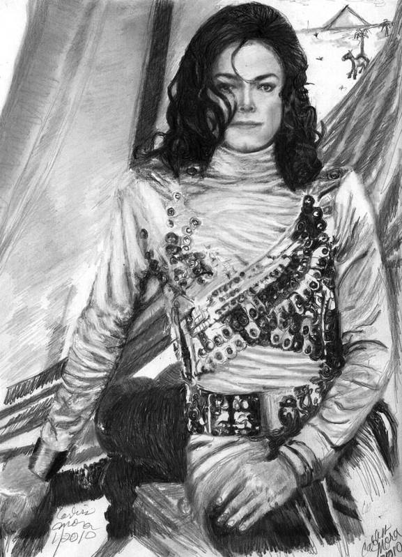 Mj Poster featuring the drawing Remember The Time by Carliss Mora