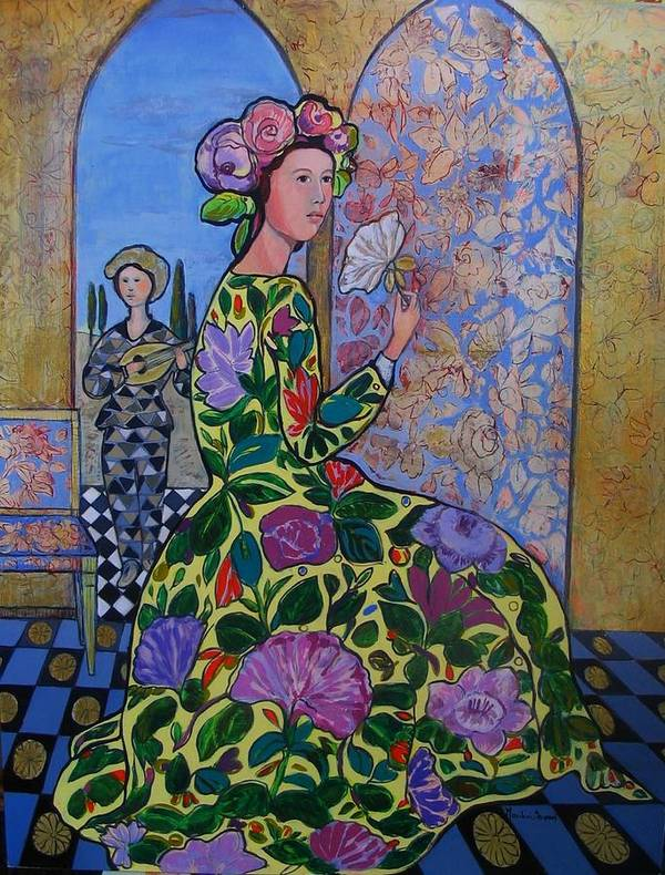 Remembering The Flower Door Poster featuring the painting Remembering The Flower Door by Marilene Sawaf