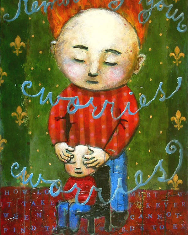 Text Poster featuring the painting Removing Your Worries by Pauline Lim