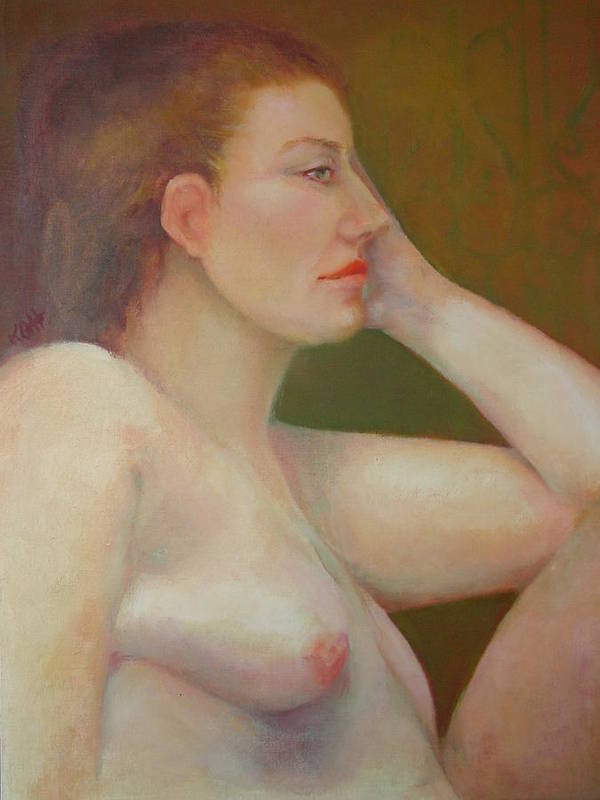 Portrait Poster featuring the painting Renaissance Nude Copyrighted by Kathleen Hoekstra