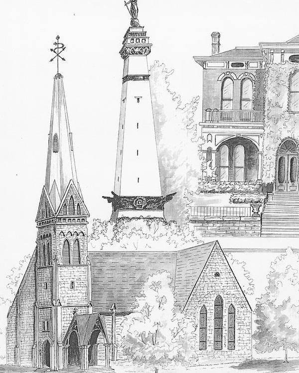 Circle Monument Poster featuring the drawing Rendering Of Indianapolis Landmarks by Michael Scherer