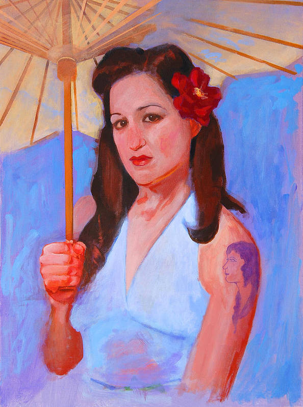 Umbrella Poster featuring the painting Renee by John Tartaglione