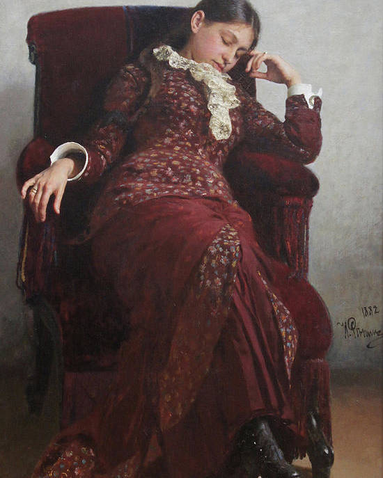 Ilya Repin Poster featuring the painting Rest. Portrait of Vera Repina, the Artist's Wife. by Ilya Repin
