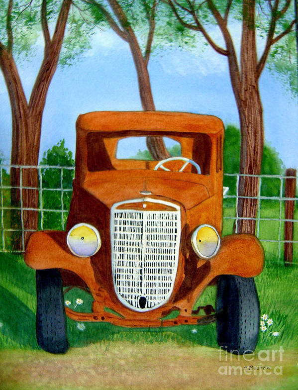 Car Poster featuring the painting Retired by Teresa Boston