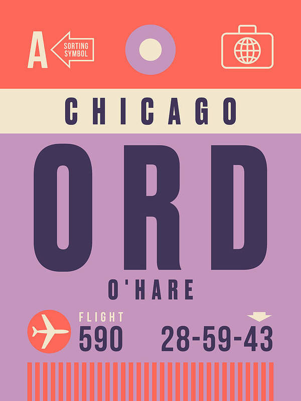 Retro Styled Luggage Tag Design For Chicago O'hare (ord) International Airport America. Poster featuring the digital art Retro Airline Luggage Tag - Ord Chicago O'hare by Organic Synthesis