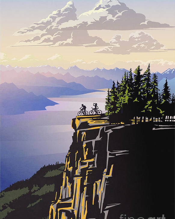 Cycling Poster featuring the digital art Retro Beautiful BC Travel poster by Sassan Filsoof