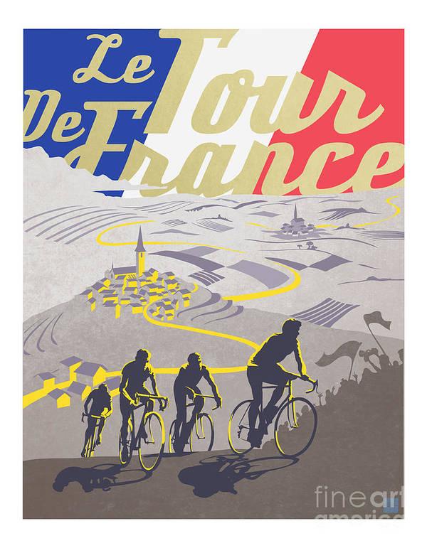 Vintage Tour De France Poster featuring the painting Retro Tour de France by Sassan Filsoof