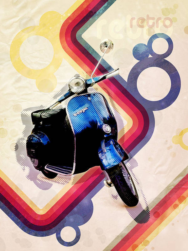 Vespa Poster featuring the digital art Retro Vespa Scooter by Michael Tompsett