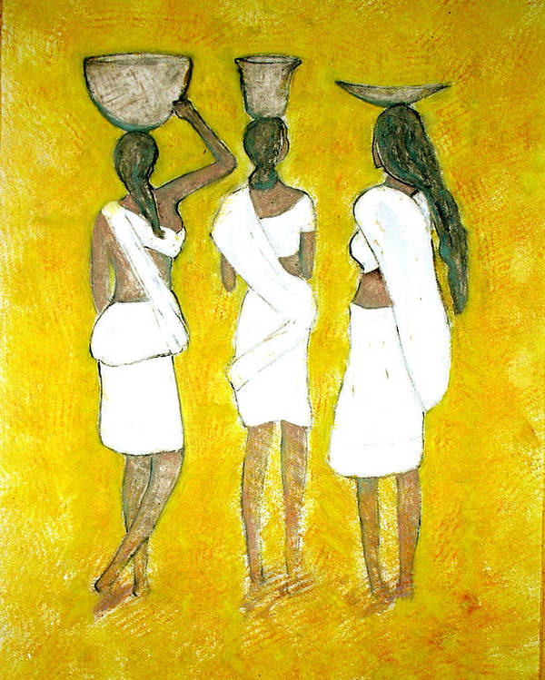 Women Poster featuring the painting Return From Market by Narayanan Ramachandran