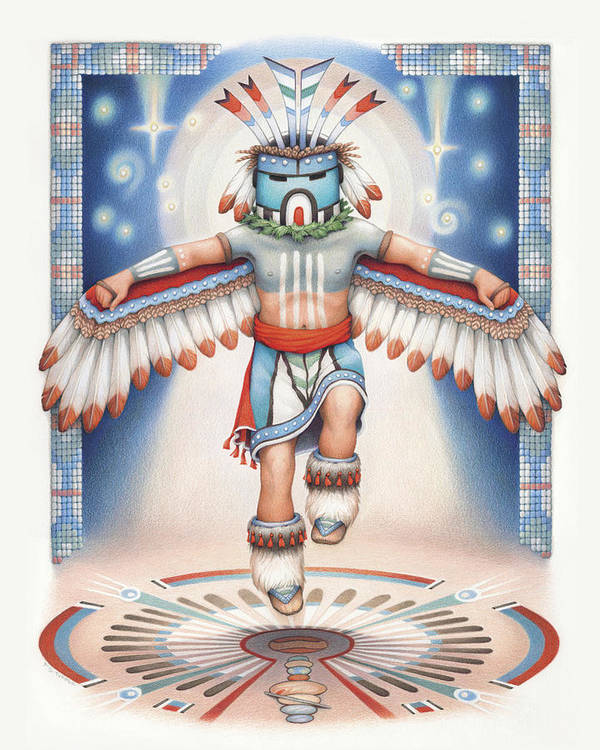 Blue Star Kachina Poster featuring the drawing Return Of The Blue Star Kachina by Amy S Turner