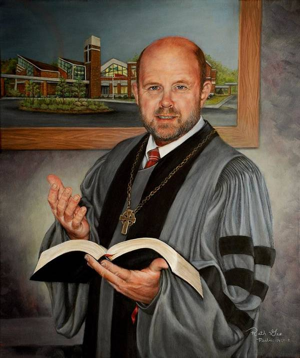 Reverend Poster featuring the painting Rev. Jeff Garrison by Ruth Gee