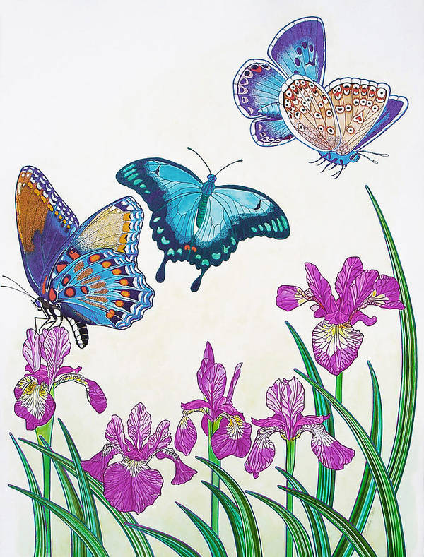 Butterflies Poster featuring the painting Rhapsody In Blue by Vlasta Smola